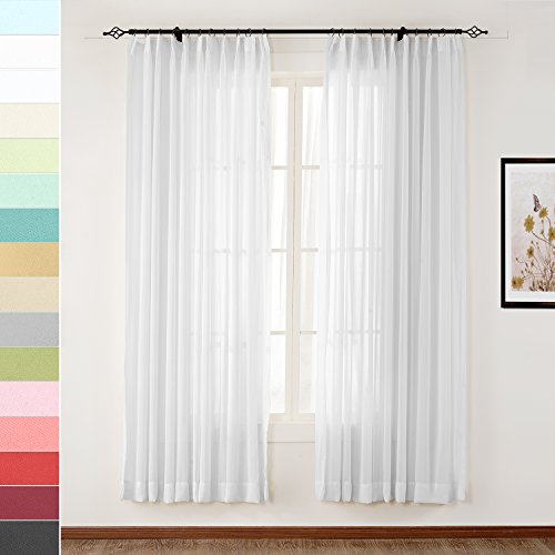 (Macochico White Soft Pinch Pleat Sheer Curtains for Library Hotel Club Classroom Kids Room Garden Patio Gazebo Outdoor Indoor Voile Drapes Dustproof Privacy Protection 72W x 96L (1 Panel))