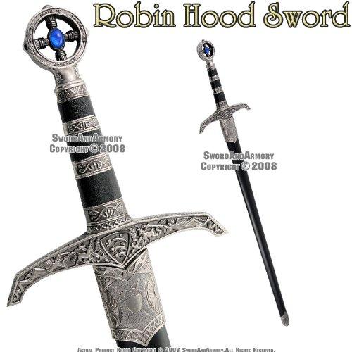 Robin Hood Weapons - Trademark 37-Inch Detailed Robin Hood Sword with Hard Scabbard