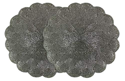 Cotton Craft - 2 Pack Beaded Placemat Set - Scalloped Round Hand Beaded Charger Placemat - Grey - 14 Inches Round - Hand Made by Skilled artisans - A Beautiful complement to Your Dinner Table décor (Placemats Capiz Shell)