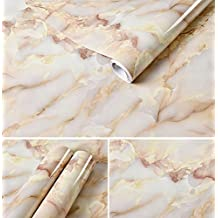 Emoyi Whitish-yellow Granite Look Marble Effect Contact Paper Film PVC/Vinyl Wall Stickers Wallpaper Self-Adhesive Peel-Stick Murals Counter Top 24''x79''