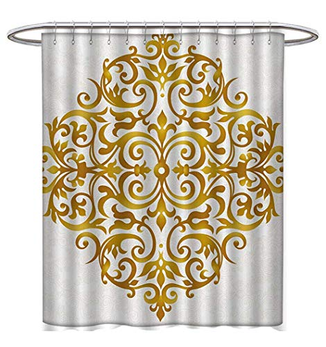 Anhuthree Mandala Shower Curtain Collection by Victorian Style Traditional Filigree Inspired Royal Oriental Classic Print Satin Fabric Sets Bathroom W72 x L72 Pale Caramel White