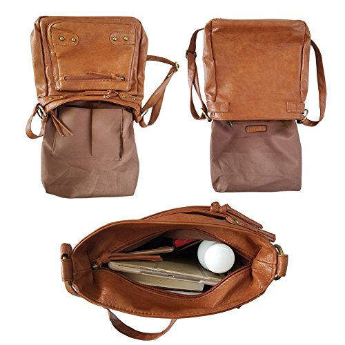 FanCarry Washed Soft PU Leather Crossbody Purse Multi Pocket Shoulder Satchel Bags for Women (Dark Orange-upgraded) by FanCarry (Image #5)
