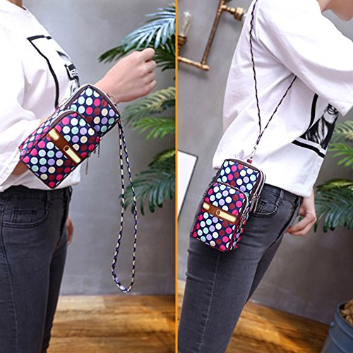 Womens Wristlet 3 Layers Messenger Mini Colourful Crossbody Purse Handbag Shoulder 3 Wave Wocharm awHBqxdUB
