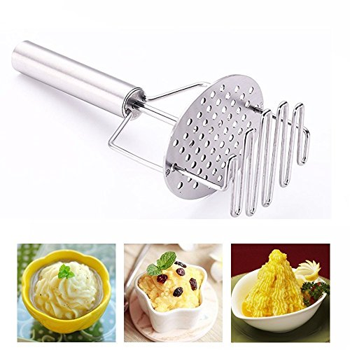 Price comparison product image Potato Masher Stainless Steel Dual-Action Potatoes Ricer with Ergonomic Handle – Great for making Potatoes,  Vegetables and Fruits