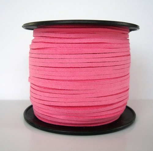 BeadsTreasure Hot Pink Suede Cord Lace Leather Cord For Jewelry Making 3x1.5 mm-20 Feet. (Suede Lace Pink)
