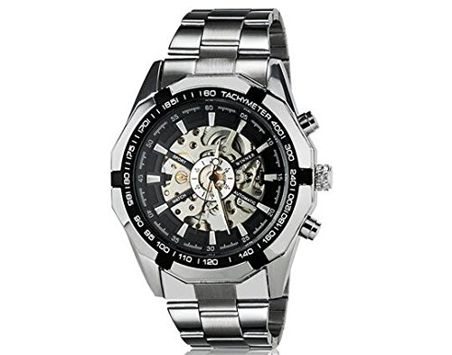 Winner TM340 Black Round Dial Stunning Automatic Mechanical Mens Wrist Watch with Stainless Steel Silver Band