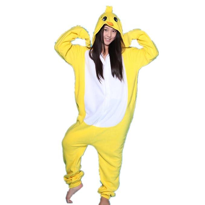 BOMOVO Pijama de una pieza supersuave - Con capucha - Pollo amarillo pequeño - amarillo y