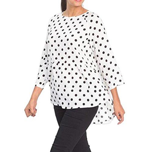 FUNIC Womens Shirt, O Neck Dots Print Crop Tops Three Quarter Sleeve Irregular Tops Blouse T-Shirt (2XL, (Crop Swing Jacket)