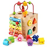 Baby Wooden Toys, YiMiky Kids Multi-Function Shape Sorter Block Colorful Funny Toy Large Around Beads Piano Musical Educational Toy Treasure Chest Gifts for Toddlers and Children