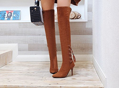 Latasa Womens Faux Suede Pointed Toe High Heels Tall Boots Brown IQScHXYq3