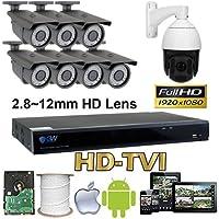GW Security 8 Channel HD-AHD/TVI Camera HD 1080P CCTV DVR Kit : 7 x 1080P 2.8-12mm Varifocal Manual Zoom Cameras 180FT IR Night Vision + 1 x 1080P HD-TVI PTZ Camera 20 times Zoom + 1 x 4TB HDD