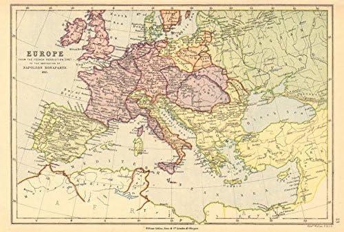 Europa napoleónica. Revolución francesa 1793 - Bonaparte abdicación 1815, 1876 mapa: Amazon.es: Hogar