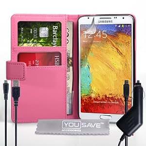 Yousave Accessories funda de piel sintética con Cable Micro USB y cargador de coche para Samsung Galaxy Note 3 Neo - rosa