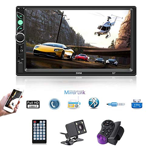 (7'' Double DIN Android 8.1 MP5 Car Multimedia Player GPS Navigator Steering Wheel Control FM/AM Radio WiFi Bluetooth Hand-Free Calls Dual USB Fast Charging HD Rear View Camera Mirror Link)
