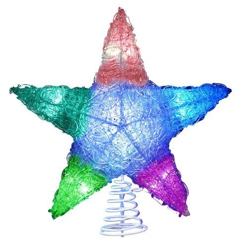 Kurt Adler 10-Light LED Star Christmas Treetop, Multi-Colored