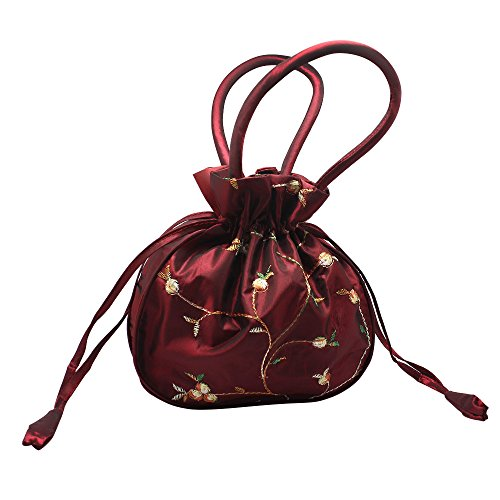 (Hysagtek Chinese Handmade Embroidered Silk Bags Evening Wedding Bridal Handbag (Wine Red))