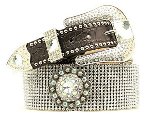 Blazin Roxx Women's Crystal Concho Belt Brown Small
