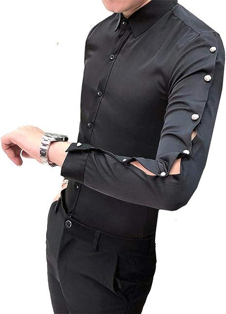 OBHDGVWN Camisa de Color sólido para Hombres Diseño Hueco de Abalorios Manga Larga Slim Fit Tuxedo Camisa Informal de Negocios Camisas de Fiesta del Club Nocturno: Amazon.es: Deportes y aire libre