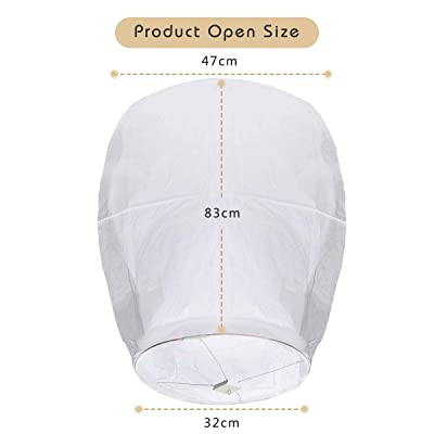 OUTERDO 20 Pack White Chinese Sky Lanterns-ECO Friendly Flying Wishing Paper Lanterns-Biodegradable Paper Lanterns Assortment for Birthdays Memorial Ceremonies and More Parties New Years