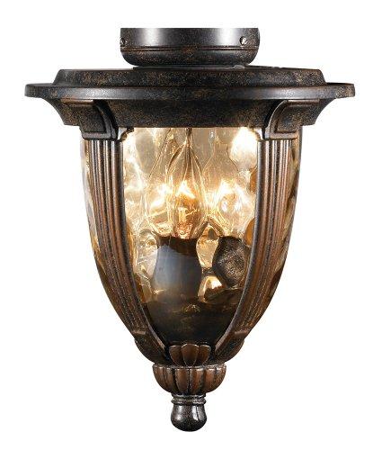 Bronze Universal Light Kits - Bronze Ceiling Fan Light Kit With Amber Hammered Glass