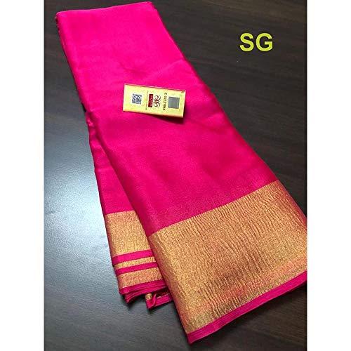 Fashion Vibes Exclusive Mysore Silk Wrinkle Crepe Saree (Magenta)