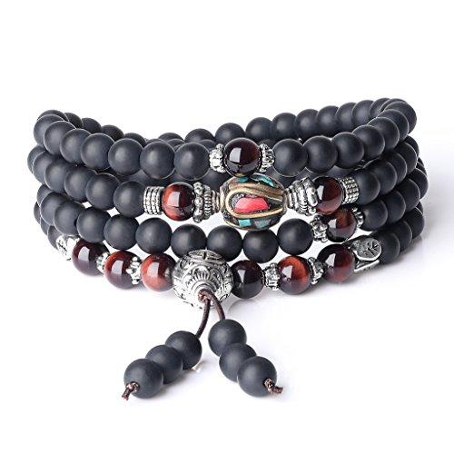 AmorWing Semi Precious Stones Matte Onyx Red Tiger Eye 108 Mala Beads Wrap Bracelet Necklace 6mm
