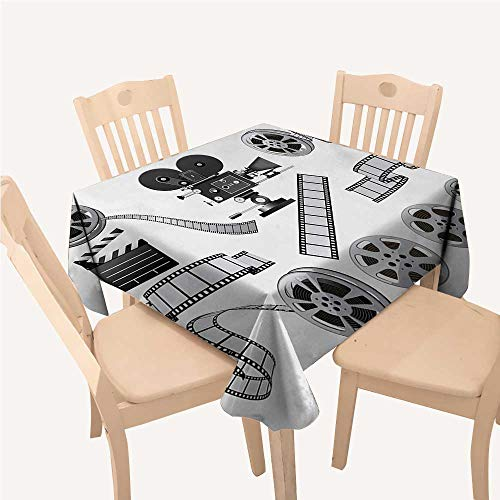(WilliamsDecor Movie Theater tablecloths Party Decorations Movie Industry Themed Greyscale Illustration of Projector Film Slate and ReelGrey Black Square Tablecloth W54 xL54 inch)