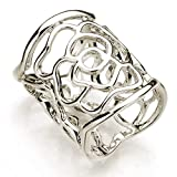 Yamalans Women's Openwork Carved Rose Pattern Scarf Ring Buckle Shawl Clip Jewelry Silver One Size