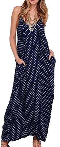 Dress Women Navy/White Polka Dot Casual Maxi Summer (Navy White Polka Dot Dress)