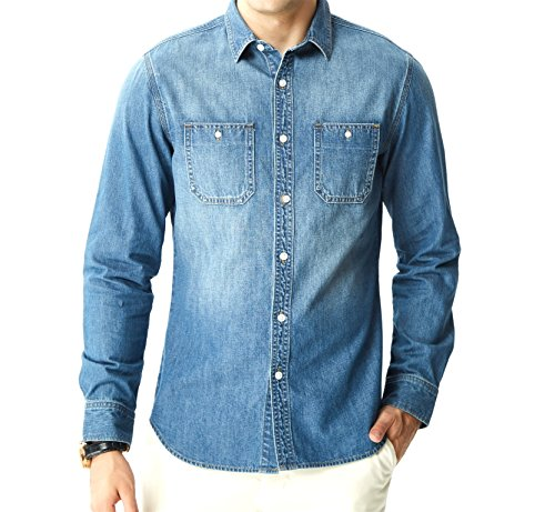- Aspop Jeans Men's Easy-Fit Denim Work Shirt L Medium Stone Wash