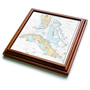 Florene - Nautical Map Décor - Print of Cuba And Straights Of Florida Chart - 8x8 Trivet with 6x6 ceramic tile (trv_204867_1)