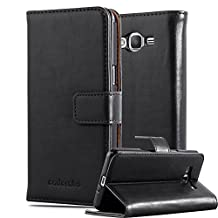 Cadorabo – Luxury Book Style Wallet Design Case for Samsung Galaxy GRAND PRIME with 2 Card Slots and Stand Function - Etui Case Cover Protection Pouch in GRAPHITE-BLACK