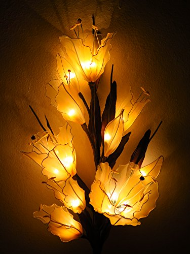 Lily Artificial Flowers Lamps, Vase/floor/table Lamps, Night Light, Wedding Lighting, Home Decor, Gift, Made By Nylon, Paper, Fabric, 20 Light Bulbs, 33 Inch by Thai Natural Goods