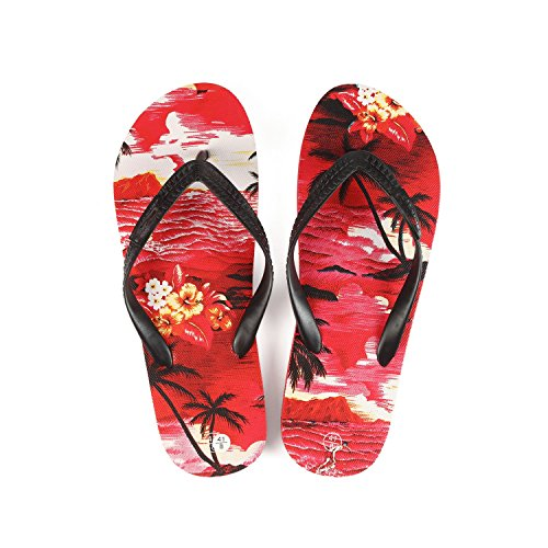 Hawaiian Print Sunset Beach Palm Hibiscus Wave Men Flip Flops Sandals In Red Sunset Size 7 from Hawaii Hangover