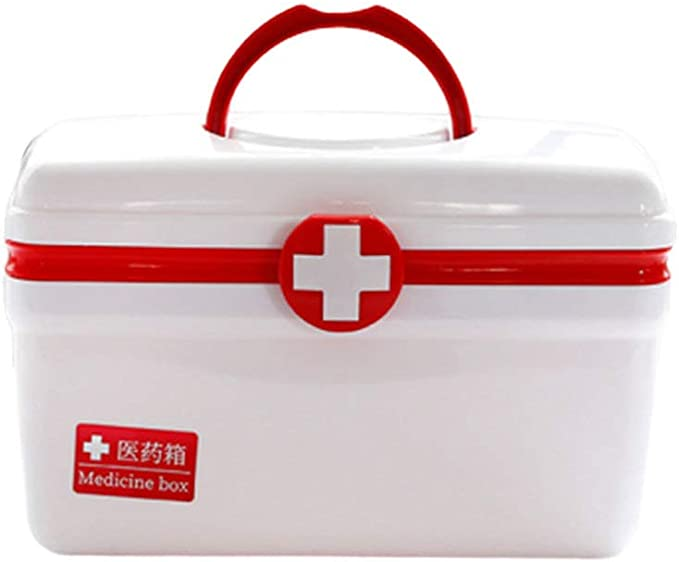 Healifty Plastic Empty First Aid Box Medicine Storage Case With Handle And Compartments Family Emergency Kit Size M Red Home Kitchen Amazon Com