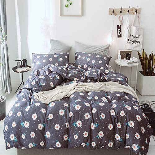 - Joyreap 3 Pieces 100% Cotton Daisy Duvet Cover Set Queen Colorful Floral Botanical Comforter Cover with Zipper & Corner Ties Elegant Flower & Leaves Pattern Soft Comfortable Bedding Set for Adults Kid