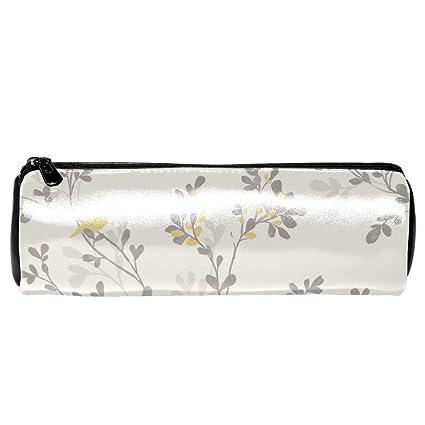 EZIOLY - Estuche de piel con diseño de flores y pájaros amarillos ...