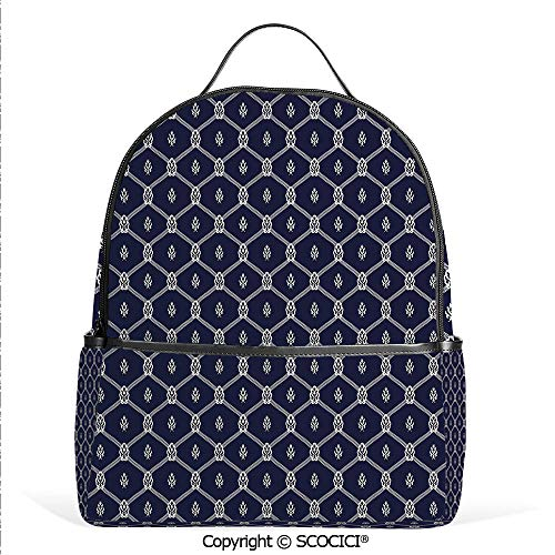 - Lightweight Chic Bookbag Ornamental Themed Image with Marine Motifs Ropes Aquatic Elements Decorative,Dark Blue White,Satchel Travel Bag Daypack