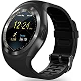 Bluetooth Smart Watch Zkcreation Smart Watch, Classic Round IPS touch screen impermeabile smartphone con SIM Card, fitness tracker, pedometro, compatibile con iOS e Android Phone(Black)