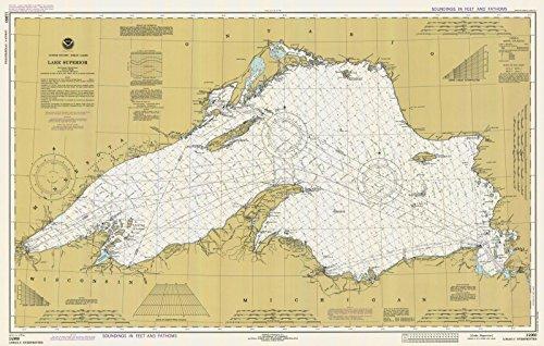 Map - Lake Superior, 1980 Nautical NOAA Chart - Minnesota, Wisconsin, Michigan (MN, WI, MI) - Vintage Wall Art - 69in x 44in (Superior Depth Chart Lake)