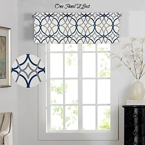 H.Versailtex Energy Saving Curtain Valances for Living Room, Matching with Curtain Panels (Rod Pocket 1 Panel, 52 by 18 Inch, Geo in Grey and Navy) (Window Home Valances Curtain)
