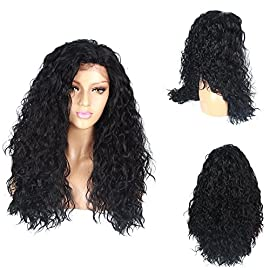 Life Diaries NO TANGLE Kanekalon Loose Curly High Density Heat Resistant Fiber Bleached Knot Black Color Glueless Synthetic Lace Front Wig For Girls And Women 26 inch