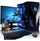 "VIBOX Gaming PC - Sharp Shooter Package 7SW - 4.0GHz AMD FX 4-Core CPU, GTX 1050 GPU, Advanced, Desktop Computer with Game Bundle, 22"" HD Monitor, Headset, Gaming Keyboard & Mouse, Blue Internal Lighting and Lifetime Warranty* (Super Fast AMD FX 4300 Quad 4-Core CPU Processor, Nvidia GeForce GTX 1050 2GB Graphics Card GPU, 8GB DDR3 1600MHz High Speed RAM Memory, 1TB (1000GB) Sata III 7200rpm Hard Drive HDD, 85+ Rated PSU, Vibox Blue Case, AM3+ Motherboard, No Operating System Installed)"