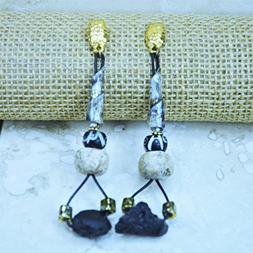 Black-Golden-Ivory Woolly Mammoth Post Earrings (Mammoth Ivory Jewellery)