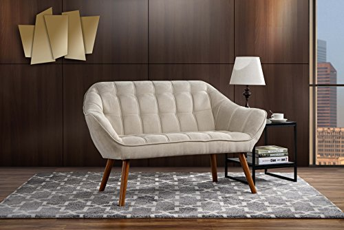 Couch for Living Room, Tufted Linen Fabric Love Seat (Beige)