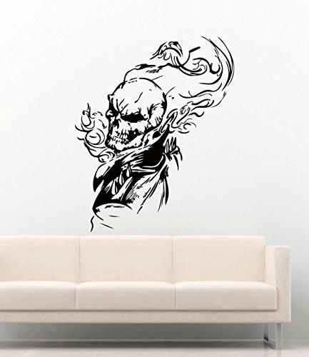 Ghost Rider Halloween Vinyl Wall Decals Horror Skul Flame Man Cave Garage Vinyl Decor Stickers MK4987 ()