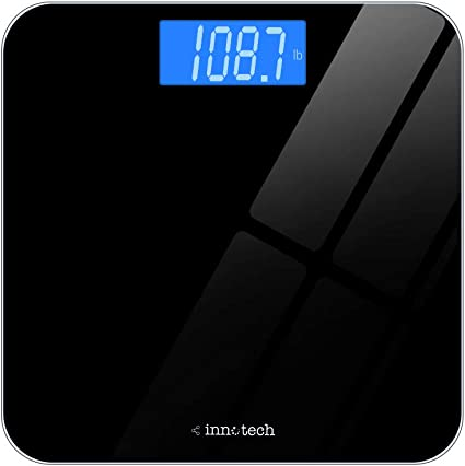 Amazon Com Innotech Digital Bathroom Scale With Easy To Read Backlit Lcd Black Health Personal Care