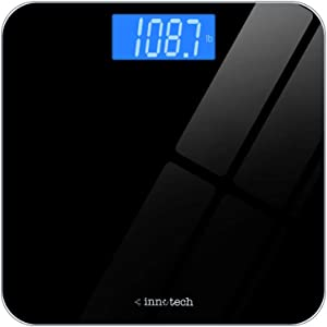 Innotech Digital Bathroom Scale with Easy-to-Read Backlit LCD (Black)