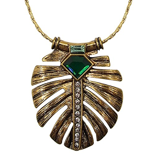 LARESDOMI Vintage Gold-tone Crystal Incrusted Simulated Emerald Inlay Elegant Palm Leaf Pendand Necklace