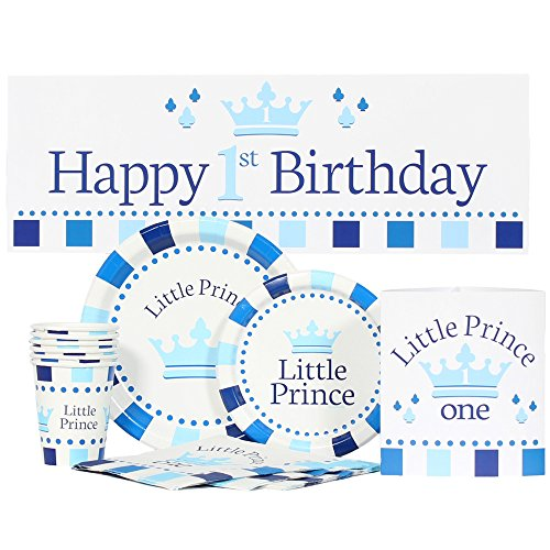 Little Prince 1st Birthday Party Package for 16 (Prince Birthday Supplies)